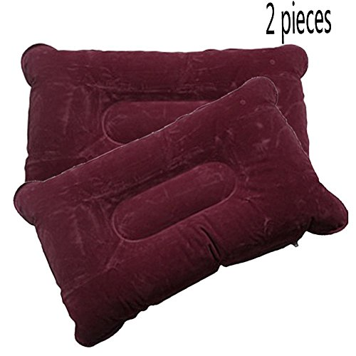 Ezyoutdoor 2pcs Portable Velvet Double Sided Inflatable Pillow Mat Cushion For Outdoor Living Hiking Travel Sleep Camping Picnic bivouac Backpacking(red)