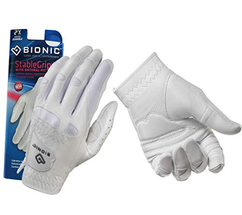 New Improved 2018 Long Lasting Bionic StableGrip Golf Glove - Patented Stable Grip Genuine Cabretta Leather, Designed by Orthopedic Surgeon! (Women's Medium, Worn on Left Hand)