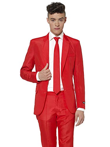 Suitmeister Solid Colored Suits - Red - Includes Jacket, Pants & TiE