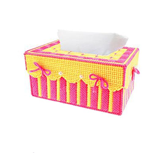 Btibpse 3d Cross Stitch Kits Simple Embroidery Kits DIY Tissue Box for Woman and Girls Plastic Canvas Kit (Red+yellow)