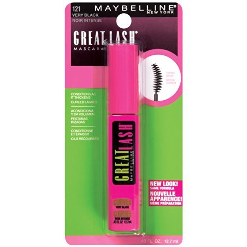 Maybelline Great Lash Curved Brush Washable Mascara, Very Black [121] 0.43 oz (Pack of (Great Lash Curved Brush Washable)