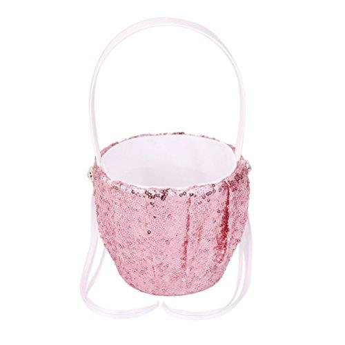 Tinksky Wedding Flower Girl Basket Flower Basket with Fashion Sequin Design (Pink) by TINKSKY