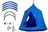 KINSPORY Outdoor Waterproof Backyard Play Center Hanging Tree House & Camping Hammock Tent Indoor Bedroom Swing Chair with Lamp String for Accommodating 2 Children - Blue