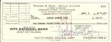 Bill Bixby Signed Original Check