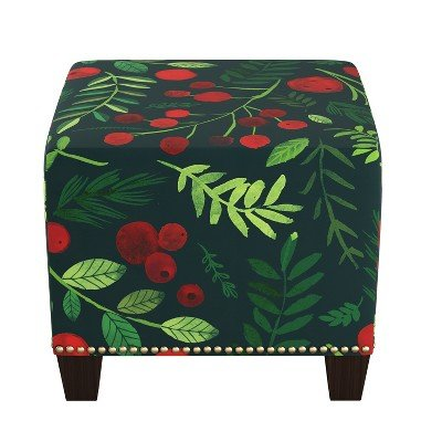 Square Nail Button Ottoman Holly Evergreen - Skyline Furniture Holly Evergreen