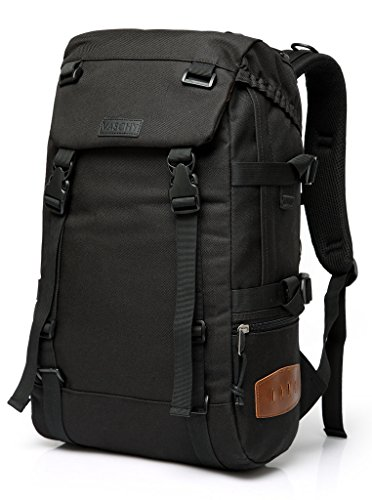 Travel Backpack for Men,VASCHY Unisex Anti Theft Buckle Hiking Backpack for School Fits 15.6 inch Laptop in Black