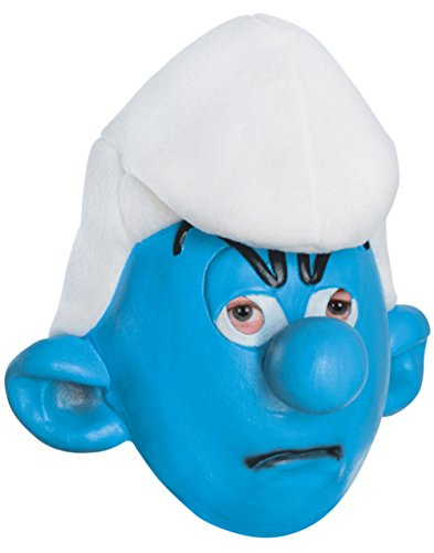 The Smurfs 2 Adult Grouchy Smurf 3/4 Vinyl Costume Mask Blue/White -