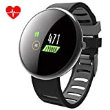 ROADTEC Smart Watches for Men Women Fitness Tracker Watch with Heart Rate Monitor,IP67 Waterproof Activity Tracker with Game Calorie Pedometer Sleep Monitor for Android (Black+Gray)