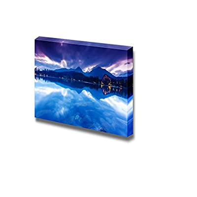 Mountain Lake in National Park High Tatra Dramatic Overcrast Sky Strbske Pleso Slovakia Europe Beauty World - Canvas Art Wall Art - 12