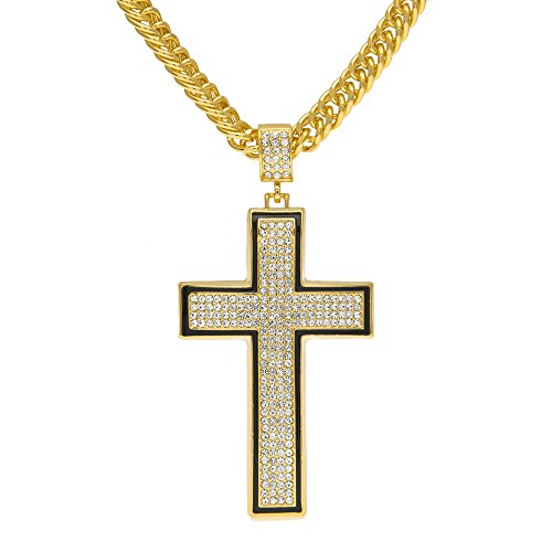 HongBoom Hot Hip Hop Cuban Link Chain 14K Gold Plated CZ Crystal Fully Iced-Out Cross Pendant