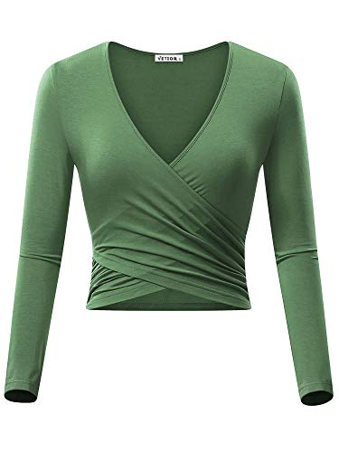 VETIOR Women's Deep V Neck Long Sleeve Unique Cross Wrap Slim Fit Crop Tops(L,Army Green)