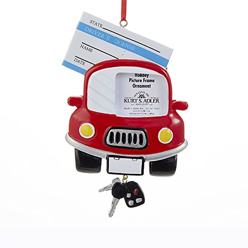 Kurt Adler Drivers License Picture Frame Ornament (Christmas Car First Ornament)