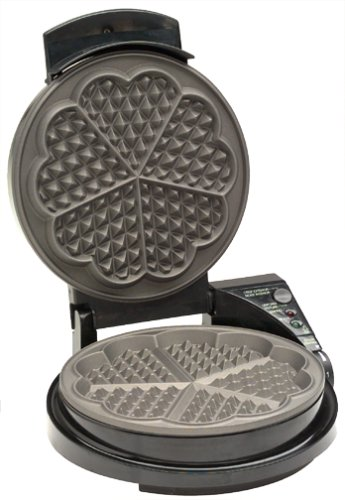 Chef'sChoice WafflePro 830 Traditional Five-of-Hearts Waffle Maker with Taste Texture Select Quad Baking Instant Temperature Recovery Fast Bake Easy to Clean with Overflow Channel, Waffle Iron, (Krumkake Iron)