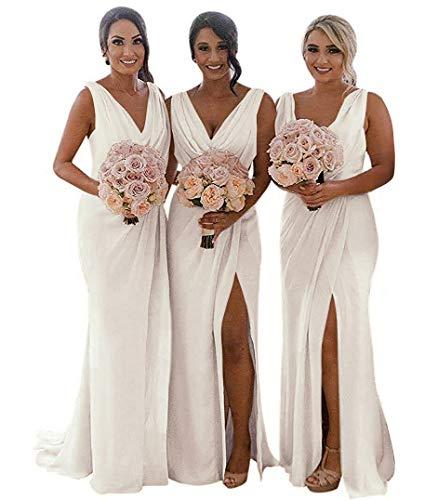 (Slit Bridesmaid Dresses Long V-Neck Chiffon Pleated Beach Wedding Party Dress 2019 Ivory Size 14 )