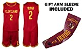 Irving Jersey Kids Basketball Red Irving Jersey & Shorts Youth Gift Set ✓ Basketball Compression Shooter Arm Sleeve ✓ Premium Quality (YM 8-10 Years, Irving Jersey Gift Set)