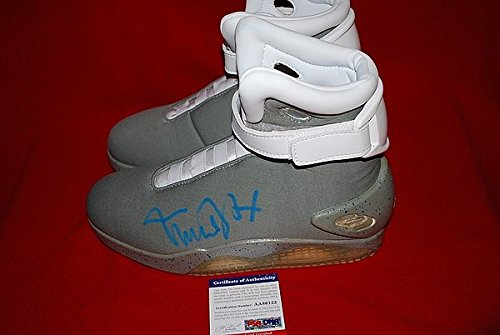 Autographed Signed Michael J Fox Autographed PSA/DNA Back To The Future Shoes Proof Marty Mcfly Proof