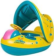 Anel flutuante inflável para bebês Lovsylvia com toldo para sombra de sol, flutuador de piscina infantil com a