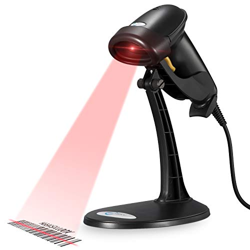 Esky USB Automatic Barcode Scanner Scanning Reader Wired Handheld/Handfree 1D Laser Bar Code USB Wired for POS System Sensing and Scan Black with Adjustable Stand,For Store, Supermarket, Warehouse from Esky