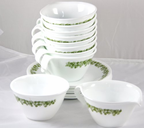 Corning Ware Corelle Crazy Daisy / Spring Blossom - Set of 8 Hook Handled Cups / Saucers with Creamer and Sugar Blossom Cup Saucer