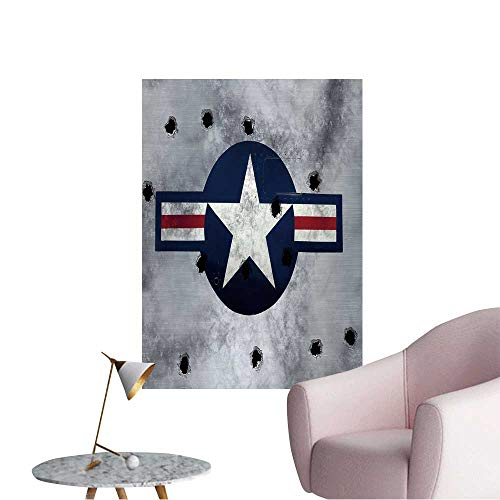 Wall Stickers for Living Room Great Image USAF Star Roundel on Grunge Metal with Bullet Holes Vinyl Wall Stickers Print,28