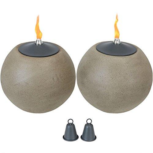 Sunnydaze Round Ball Tabletop Torch, Stone-Look, Set of 2, 7-Inch Diameter by Sunnydaze Decor
