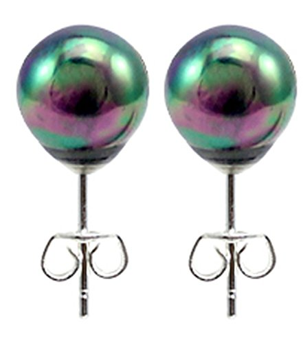 Abalone Round Earrings (Natural Abalone pearl round stud earrings size 8mm)