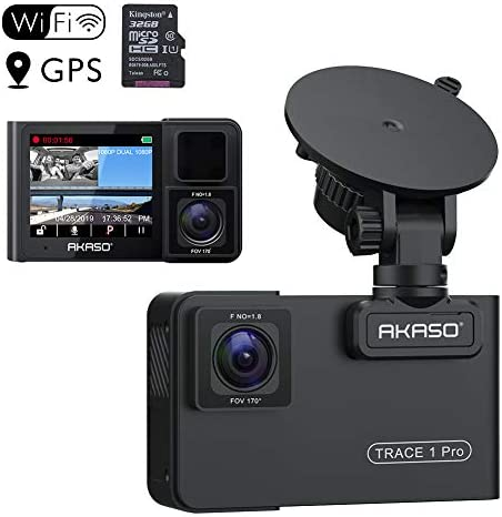 AKASO Trace 1 Pro Dual Lens Car Dash Camera, 2K Dash Cam WiFi with Phone App External GPS Front and Inside Lens with Sony STARVIS Dual Record 1080p30 340 Coverage Included 32GB Card Fatigue Reminder