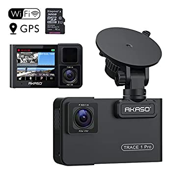 Image of AKASO Trace 1 Pro Dual Lens Car Dash Camera, 2K Dash Cam WiFi with Phone App External GPS Front and Inside Lens with Sony STARVIS Dual Record 1080p30 340° Coverage Included 32GB Card Fatigue Reminder On-Dash Cameras