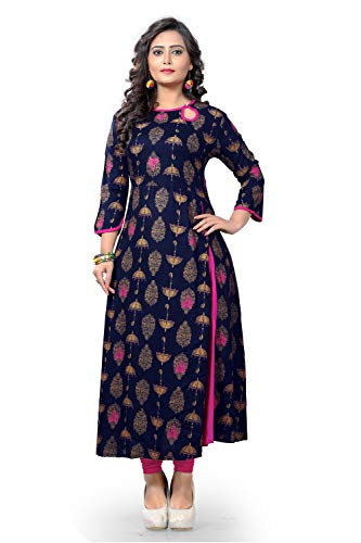 Delisa Women Dress Printed Kurti for Women Formal & Party Wear 183-8 (Blue 188, 40)