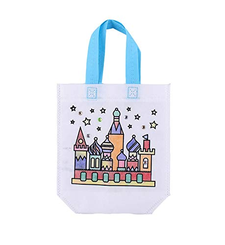 PANDA SUPERSTORE Kids DIY Graffiti Bag Non-Woven Party Gift Tote Bags with Handles, Castle Pattern,10 Packs