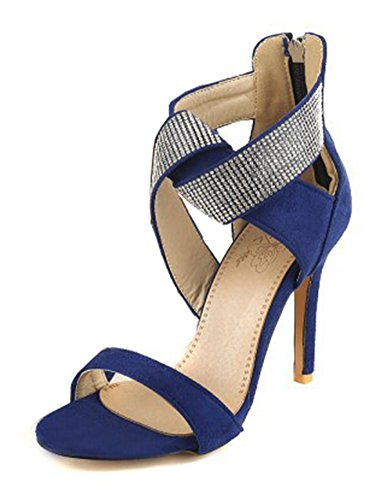 Aisun Womens Rhinestone Ankle Wrap Open Toe Dressy High Stiletto Heels Zip Up Sandals Blue