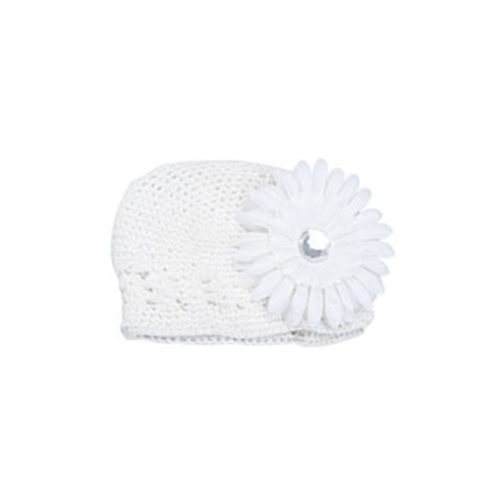 Sanwood Baby Girls Toddler Crochet Beanie Hat with Flower Clip (1) AXSSD-000394