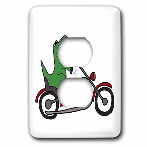 T-rex Cycles (3dRose lsp_201819_6 Fun Green T-Rex Dinosaur Riding A Red Motorcycle - 2 Plug Outlet Cover)