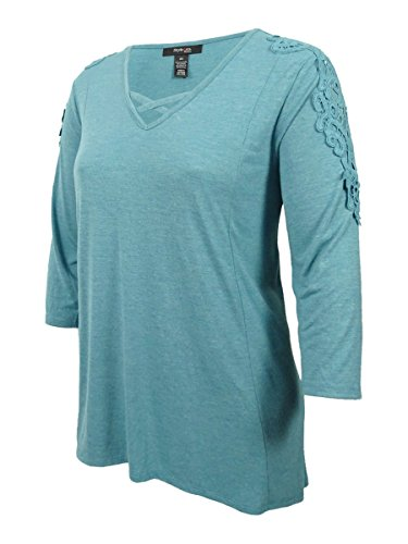 Style & Co. Womens Plus Crochet Trim Bridge Hem Casual Top Green 2X ()