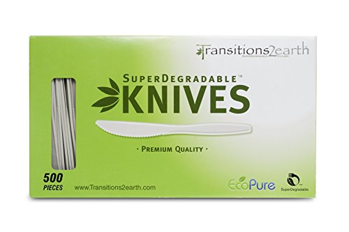 Transitions2earth Biodegradable EcoPure Knives - Box of 500 - Plant a Tree with Each Item Purchased!