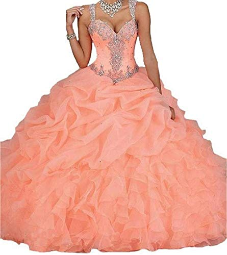 (Dydsz Women's Quinceanera Dresses 2019 Ball Gown Sweet 16 Prom Dress Plus Size Coral D18 Coral)