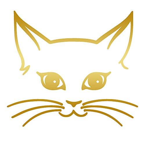Girly CAT FACE (Metallic Gold) (Set of 2) Premium Waterproof Vinyl Decal Stickers for Laptop Phone Accessory Helmet Car Window Bumper Mug Tuber Cup Door Wall Decoration