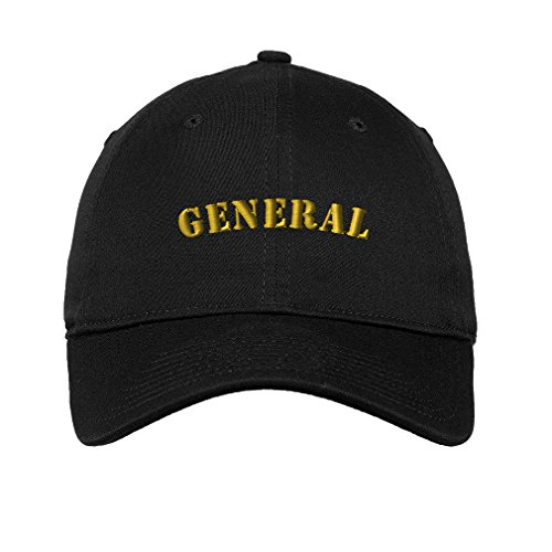 Speedy Pros General Spanish General Army Embroidered Unisex Adult Flat Solid Buckle Cotton Unstructured Hat Low Profile Cap - Black, One Size