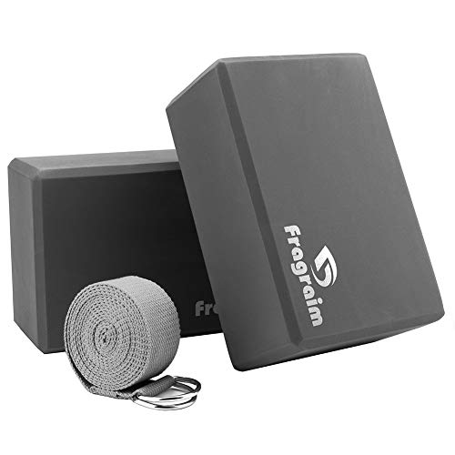 """Yoga Blocks (2PC) and Strap Set - 9""""x6""""x4"""" EVA Foam Bricks and Stretching Belt with Metal D-Ring Provides Stability Balance, Support and Deepen Poses (Grey)"""