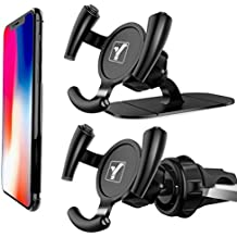 [2 Pack] YICTONE Car Phone Holder for Popsocket Grip User, Air Vent & Dashboard Sticker Dual Modes Cell Phone Mount in one Pack, Upgraded Air Vent Never Fall Off - Easier GPS Navigation