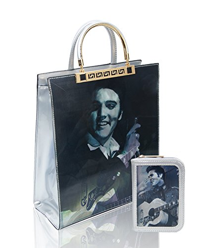 Tote Bag Redfox Presley Purse 2IN1 Wallet Silver Handbag Shopper Elvis Effect Patent Small Leather 3D Set Women's Shoulder RFYrZcORv