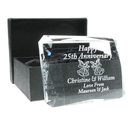50th Wedding Anniversary Gift, Engraved 50th Wedding Anniversary Crystal Keepsake, 50th Wedding Anniversary Gift