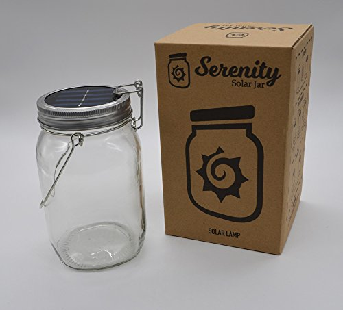 Solar Powered Light Jar By Solar Serenity – 4 LED Lights – Multipurpose Indoor & Outdoor Patio, Yard, Driveway, Garden, Hanging Light & Table Lantern – Relaxing, Bright, (Warm) by Serenity solar jar