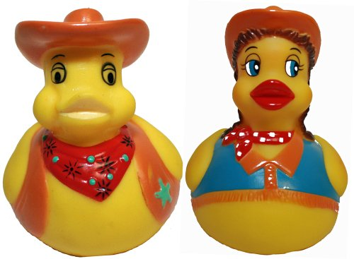 Cowboy Rubber Duck - Rubber Ducks Cowgirl N Cowboy Set of 2, Waddlers Brand Rubber Ducks That Float Upright, Toy Bathtub Western Themed, All Departments Birthday Party Deluxe Gift Set