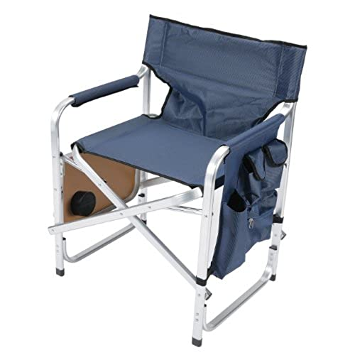 Nice Faulkner Aluminum Director Chair With Folding Tray And Cup Holder, Blue
