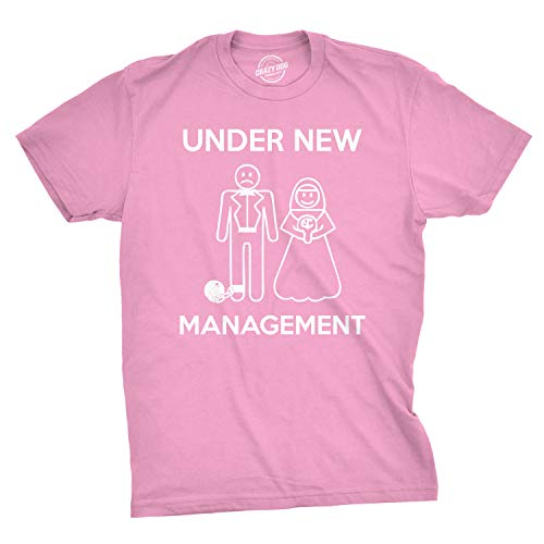 Mens Under New Management Funny Wedding Bachelor Party Novelty Tee for Guys (Pink) - M