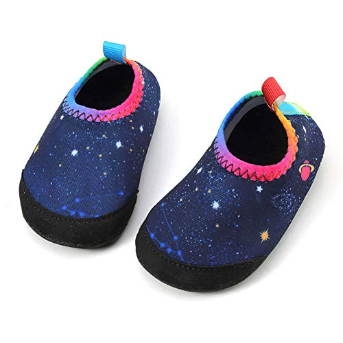 (Baby Boys Girls Water Shoes Infant Barefoot Quick -Dry Anti- Slip Aqua Sock for Beach Swim Pool Starry sky/18-24 Months M US Infant)