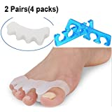 Bunion Relief Toe Straightener,Gtopin Gel Toe Separator Toe Spacers Toe Stretchers for Men and Women Wear in Shoes, Relief Pain After Yoga and Sports Activities - 2 Pairs