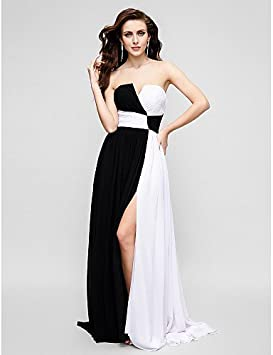 7a1983efb HY OB Una Línea De Barrido Sin Tirantes Cepillo Tren Chiffon Prom Vestido  De Noche Formal