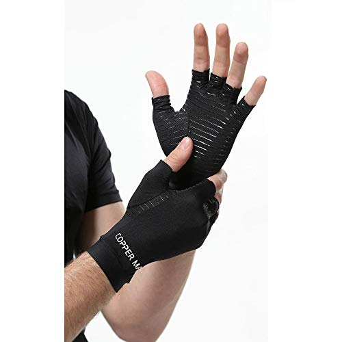 HIGHCAMP Arthritis Gloves Women- Copper Gloves Men- Compression Gloves Recovery & Relieve for Arthritis, RSI, Carpal Tunnel, Swollen Hands, Tendonitis, Everyday Support & More (Medium, Fingerless)